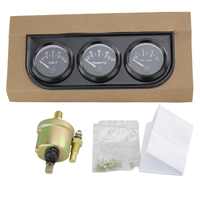 52mm Triple Gauge Kit Water Temp Gauge+Oil press+Voltmeter Temperature Sensor Auto Gauge Car Meter 3in1 Electrial Gauge Tachome~