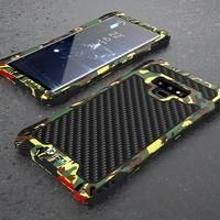 Woven Pattern Case For Samsuang Galaxy S9 Plus 360 Full Protection Camouflage Metal Frame Cover For Samsung Note 8 9 Phone Case