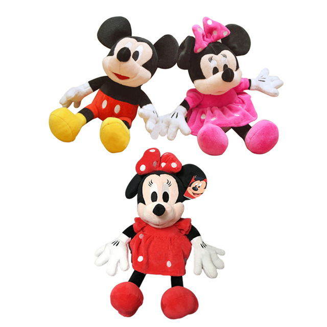 1pc 28cm Hot Sale Cute Mickey Mouse and Minnie Mouse Stuffed Soft Cartoon Animal Plush Toys Kids Love Dolls Classic Gifts