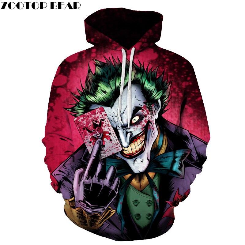 Joker Poker Männer Hoodies Sweatshirts 3D Gedruckt Lustige Hip HOP Hoodies Neuheit Streetwear Mit Kapuze Herbst Hoodie Männlichen Trainingsanzüge