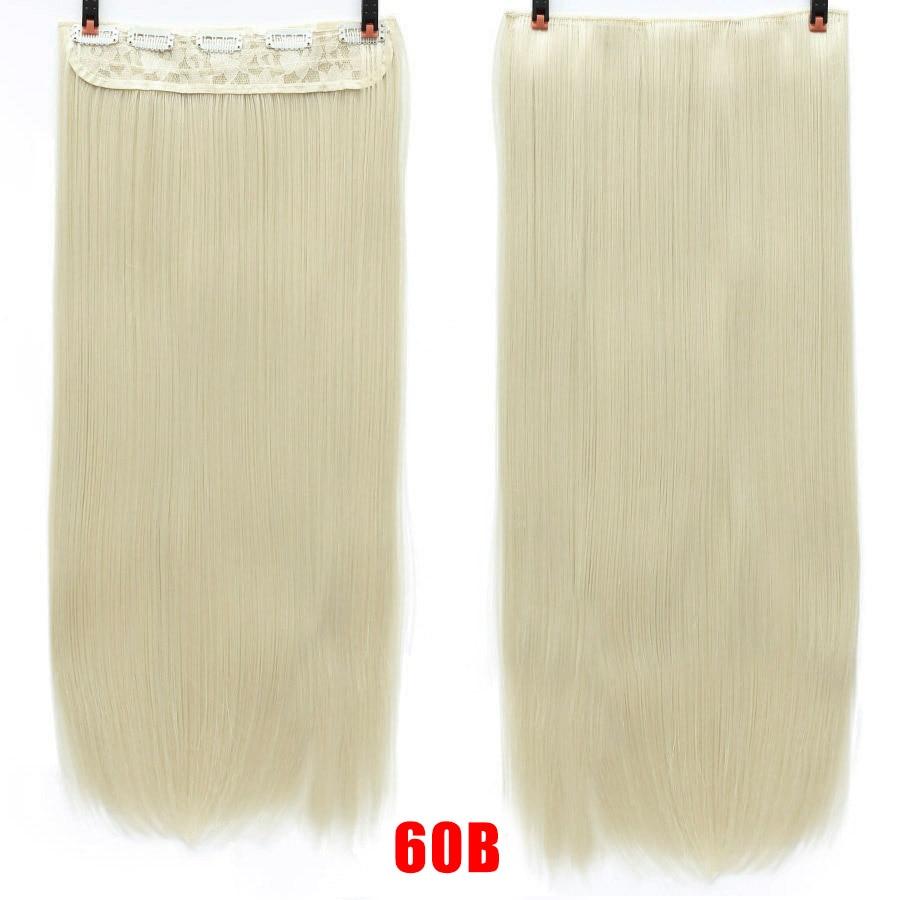 SHANGKE волосы 24 ''длинные прямые женские волосы на заколках для наращивания черный коричневый высокая температура Синтетические волосы кусок - Цвет: 60B