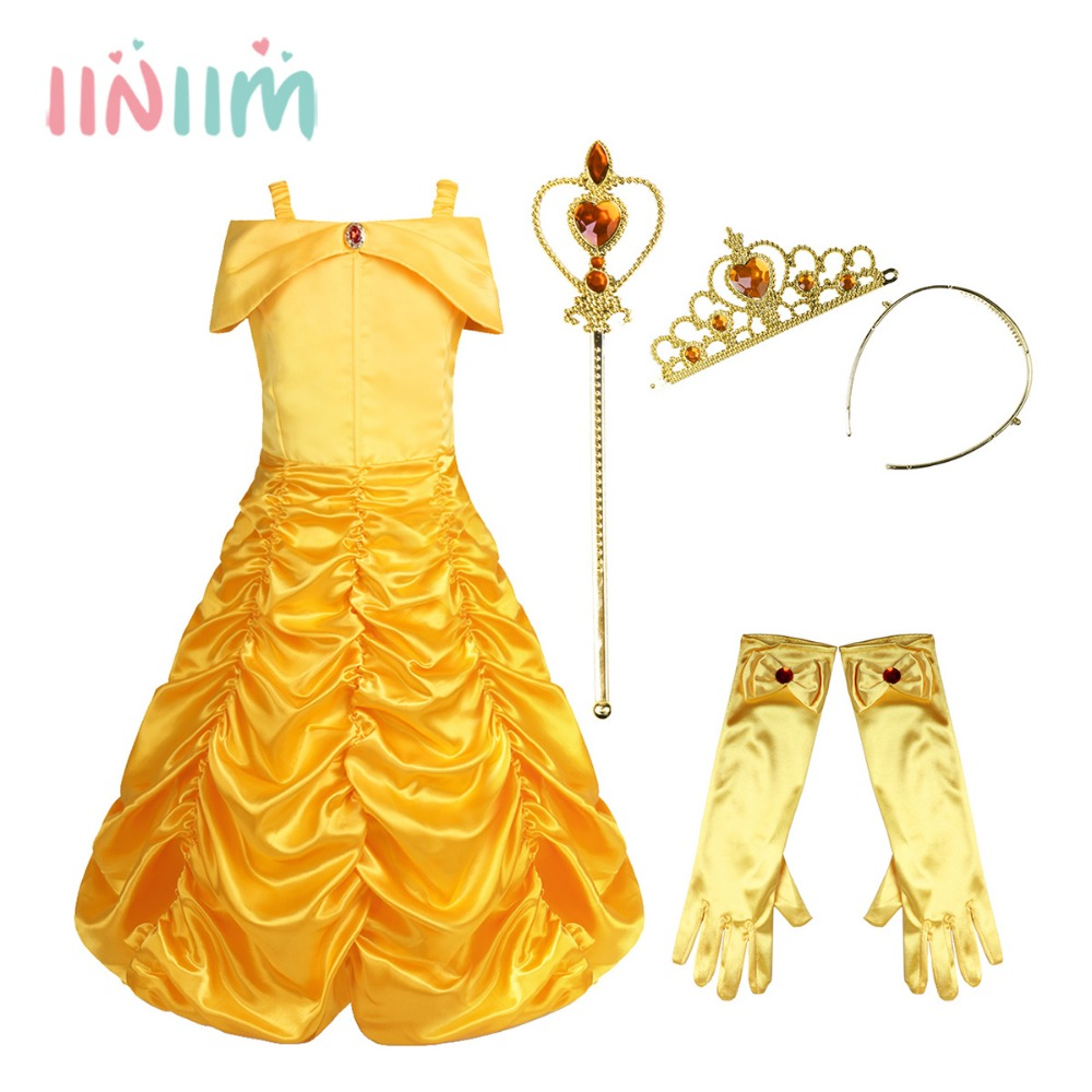 iiniim Baby Girls Off Shoulder Ruched Fairy Tale Princess Halloween Costume Cosplay Party Fancy Dress with Gloves Tiara Wand