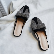 2019 spring summer female Muller shoes high quality material rhinestones shiny bow decoration comfortable women slippers