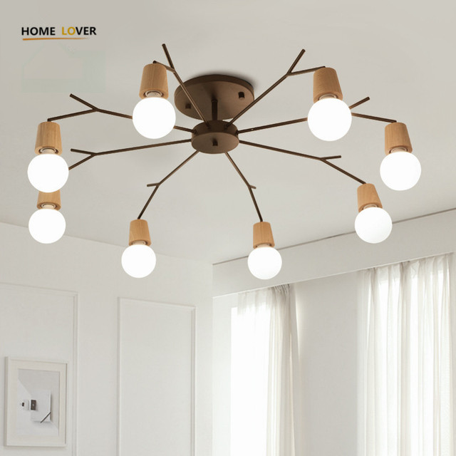 Wireless Ceiling Lights For Living Room Bedroom Children S Kitchen Light Luminaria Led 3 5 8 Wooden