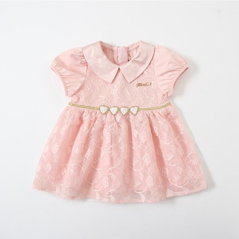 Baby Girls Dresses Summer Peter Pan Collar Girls Heart Sequins Lace Kids Dress Childrens Wear 0 4YDresses   -