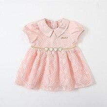 Bebek kız elbise yaz Peter Pan yaka kızlar kalp Sequins dantel çocuk elbise çocuk giyim 0 4Y