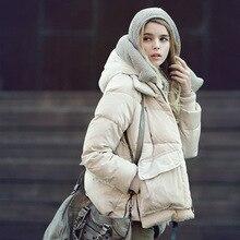 2016 Новая Европа молнии с капюшоном с длинными рукавами пуховик женский военная твердый толстый карман на молнии женщины зима теплое пальто