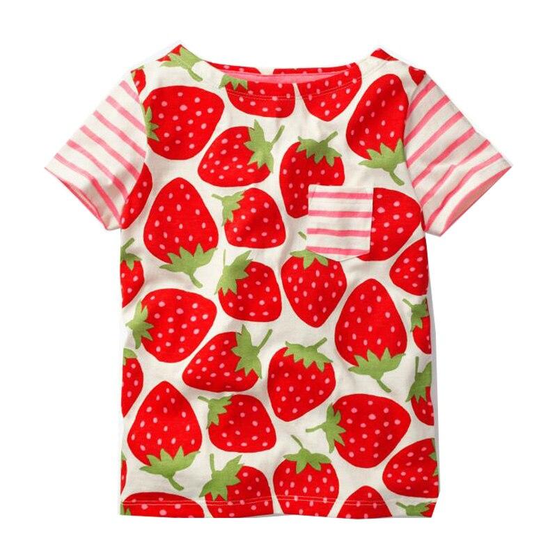 Girls Summer Tops Children T shirts Baby Clothes 2018 Brand Strawberry Tees Girl T-shirt 100% Cotton Kids Tee Shirt Fille
