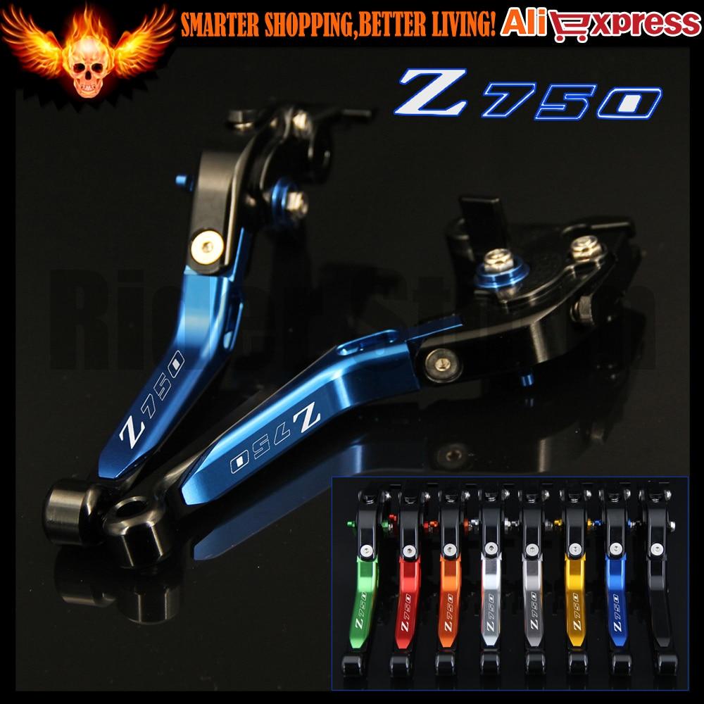 Logo Z750 Blue CNC Adjustable Motorcycle Brake Clutch Levers for Kawasaki Z750 (not Z750S model) 2007 2008 2009 2010 2011 2012 logo z750 for kawasaki z750s z 750s z750 s 2006 2007 2008 motorcycle accessories folding extendable brake clutch levers 20 color