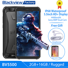 Blackview BV5500 IP68 Waterproof Cellphone 5.5 inch 18:9 HD+ IPS Android 8.1 3G Mobile Phone 8.0MP Camera GPS Rugged Smartphone