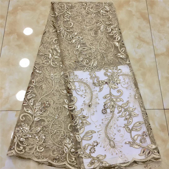 Tollola African Lace Fabric 2019 Embroidered Nigerian Laces Fabric High Quality French Tulle Lace Fabric For Gold Color Women