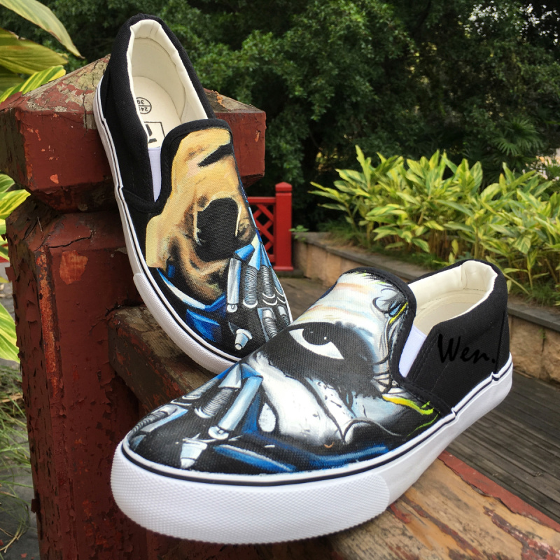 Wen Original Design Terrible Mask Half Face Icy Stare Custom Canvas Hand Painted Slip On Shoes Adults Unisex Black Sneakers wen original design colorful lamp bulb hand painted shoes black slip on canvas sneakers for man woman s gifts presents