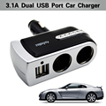 3.1A dual usb car charger 12-24v car-charger cigarette lighter adapter  splitter universal mobile charger for bmw auto charger