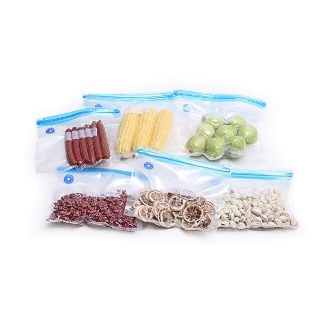 5pcs Durable Plastic Food Saver Vacuum Bags Fresh Saving Bags Handheld Vacuum Sealing Bags For Fish Vegetables Fruit