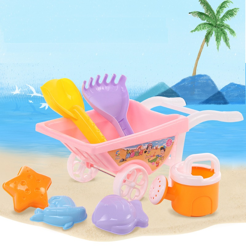 7pcs/set Summer Beach Trolley Toys For Children Outdoor Beach Sand Toys Zabawki Do Piasku Cubo Juguetes Playa