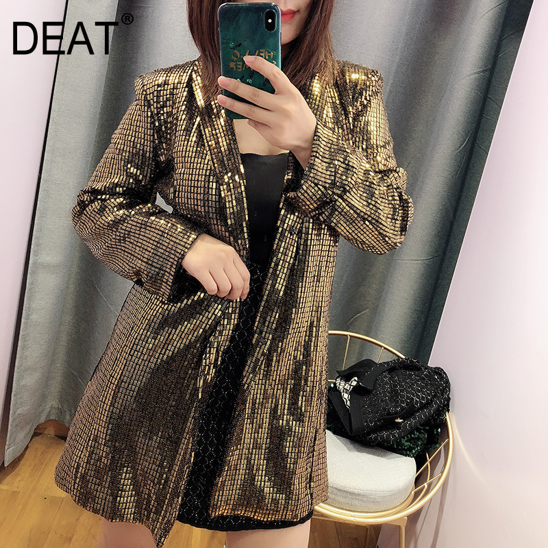 DEAT 2019 new turn down collar full sleeves sequins single breasted loose jacket female brling summer