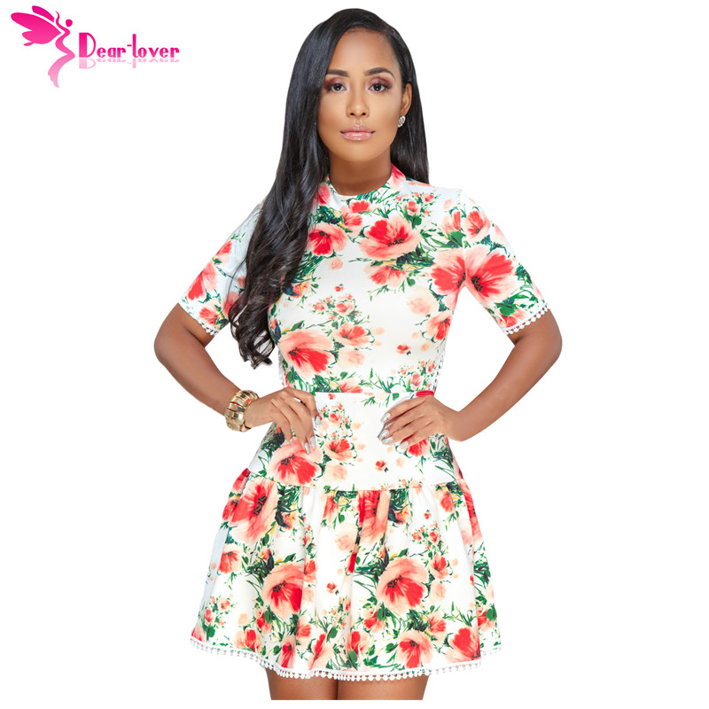 407d71245fe5 Dear Lover Sexy Party Summer Royal Blue White Multicolor Floral Lace-up  Back Short Sleeve Skater Dress Vestidos Mujer LC610210