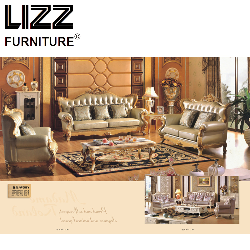 Luxury Furniture Chesterfield Genuine Leather Sofas For Living Room Royal Golden Sofa Loveseat Chair Set In From