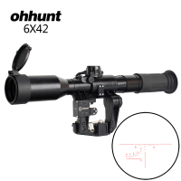 ohhunt Tactical 6X42D Sight Red Illuminated SVD SKS AK Rifle Scope POS 1 Glass Etched Reticle Hunting Sniper RifleScopes