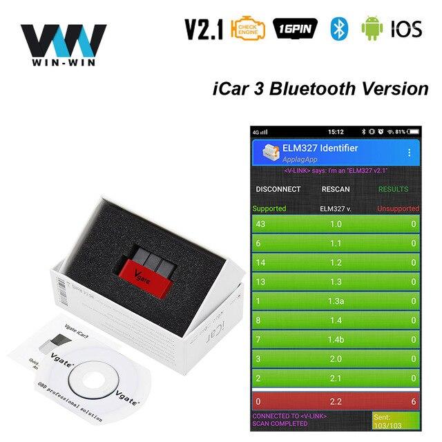 Vgate iCar3 V2.1 ELM327 Bluetooth ELM 327 Икар 3 OBD2 OBDII Bluetooth Авто Читатели код диагностики лучше, чем ELM 327 V1.5