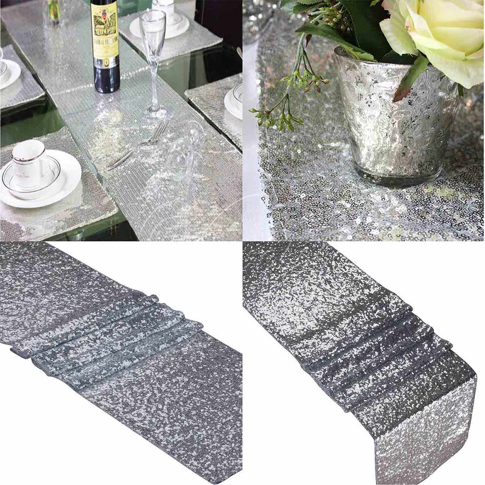 One Silver Sequin Table Runner 12