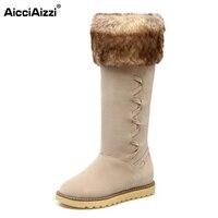רוסיה נשים החורף חם אופנה מגפיים גבוהים הברך הבוהן אישה עגולה Mujer Botas אתחול שלג קטיפה ארוך אישה נעליים שטוחות גודל 34-43