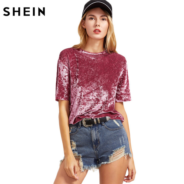 aeebe105a SHEIN Female Ladies Casual Tops Women Tops for Spring Vintage Blouse Pink  Drop Shoulder Short Sleeve Velvet Top C3001