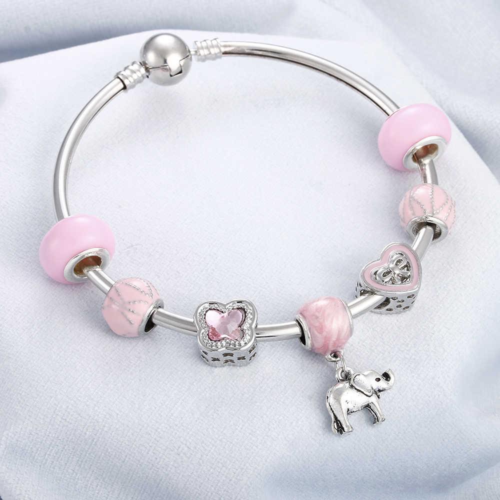 Розовый кристаллический камень из бисера креативный браслет Серебряный Шарм Сердце цветок Слон подвеска в виде динозавра браслеты и браслет для женщин DIY ювелирные изделия