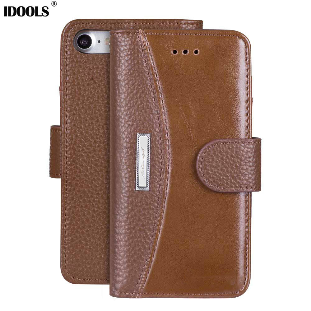 For iPhone 7 Case PU Leather Soft TPU Wallet Flip Cover Mobile Phone Cases for iPhone 7 Bag Stand Holder With Card Holder IDOOLS