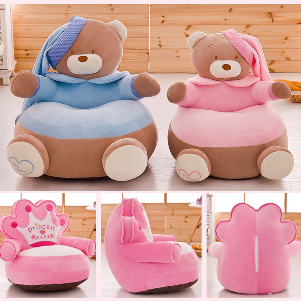 Baby Chair Toddler Nest Puff Seat Bean Bag Only Cover No Filling Baby Bean Bag Cartoon Crown Seat Sofa Plush Children Seat Cover