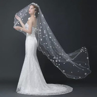 Mingli Tengda 3m One Layer Elegant Wedding Veil Long Soft Appliques Bridal Veils Ivory Bride Wedding Accessories voile de mariee