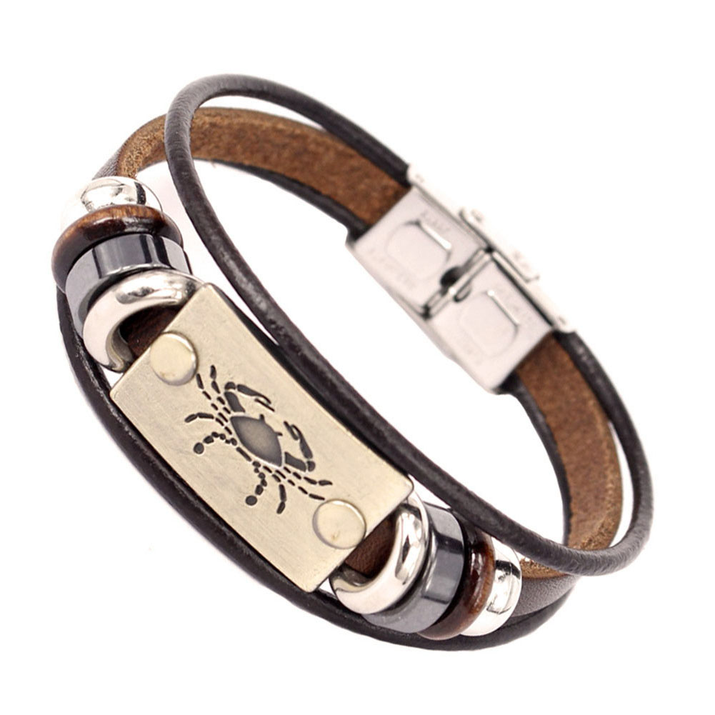 12 Constellations Men Bracelet Cuff Leather Alloy Zodiac Signs Man Casual Punk Bracelets CX17
