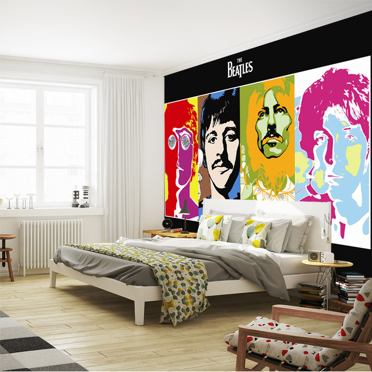 Free Shipping The Beatles Photo Wallpaper Music Band Wallpaper 3D Classic Wall  Mural Bedroom Pop Art Boys Kids Room Decor Home Decoration Celebrity ...