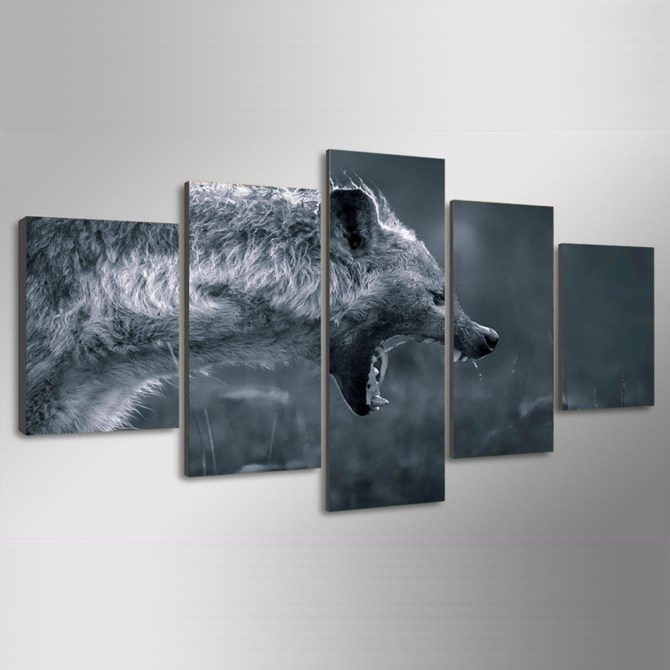 Canvas Painting Wall Art Home Decor Framework 5 Pieces Hyena Hunting Animal For Living Room Modern HD Printed Modular Pictures in Painting Calligraphy from Home Garden