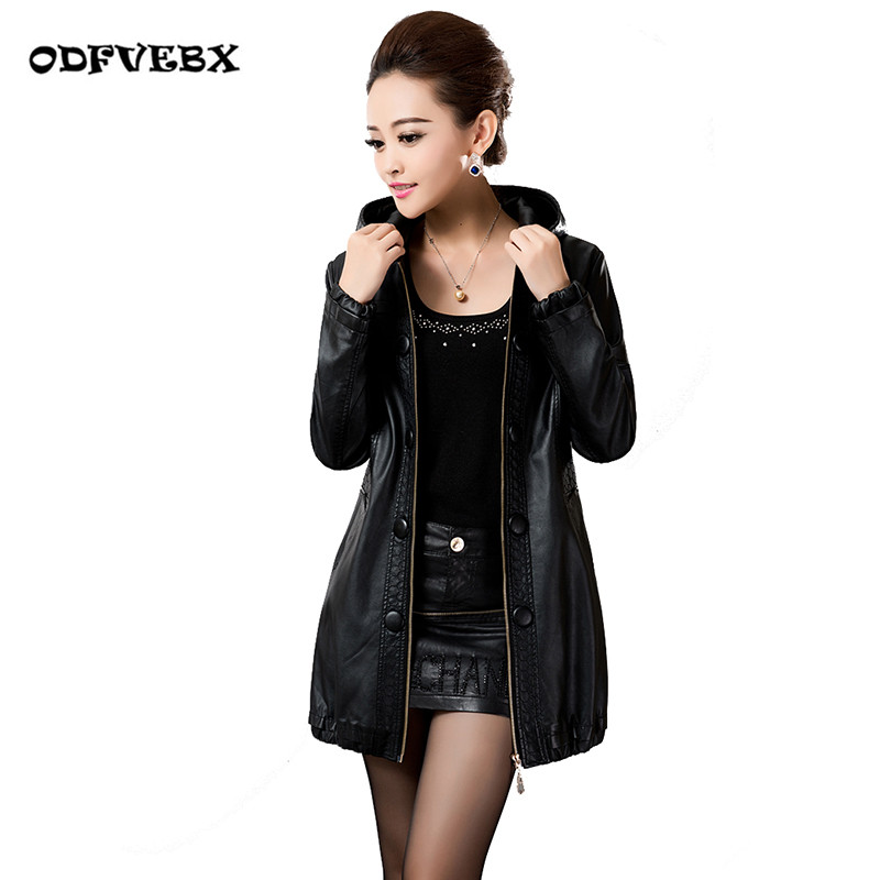 Autumn female PU   leather   jackets fashion medium long wild plus size L-5XL Slim motorized   leather   jacket coat women ODFVEBX HY552