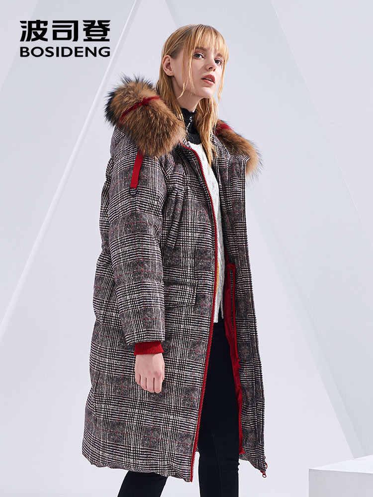 BOSIDENG/Новинка 2018 года; стильный Зимний длинный пуховик; модная Толстая куртка с отстегивающимся большим воротником из натурального меха; B80142538DS