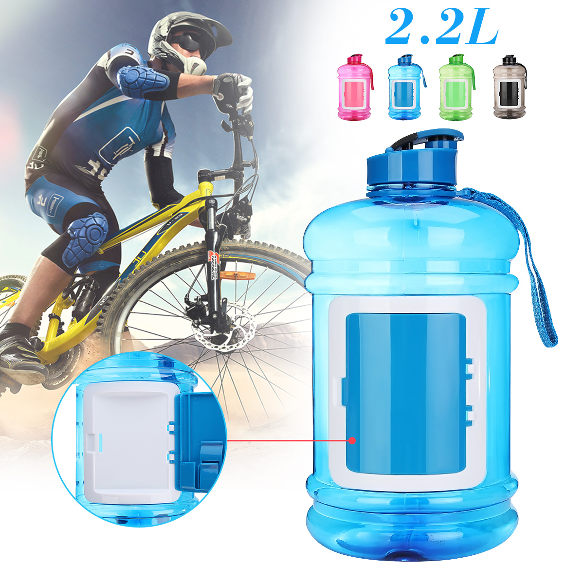 1 Gallon For Fitness Gym Large Capacity Sports Water Bottle With lanyard