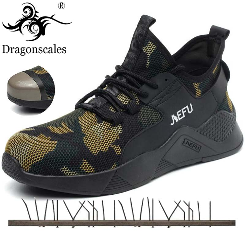 Men's Steel Toe Work Safety Shoes Casual Breathable Camouflage Sneakers Comfortable Industrial Shoes For Men Puncture Proof Boot