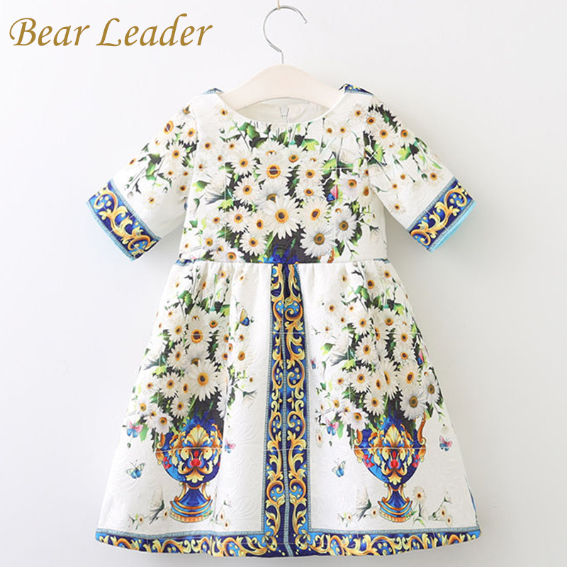 Bear Leader Girls Dress Spring Style 2018 Brand Princess Dresses European and American Style Flowers Printing Children Clothing bear leader girls dress new autumn england style princess dresses petal sleeve design plaid printing for children clothing