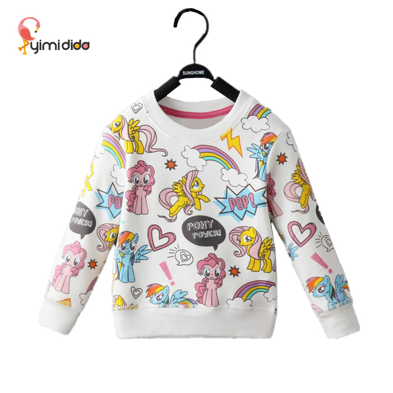Autumn Winter Girls T Shirt Rainbow Pony Print Long Sleeve Baby Girls Clothes Brand Cute Girl Shirt Unicorn Kids Party Clothing splatter paint dot print long sleeve shirt