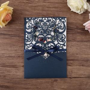 Image 2 - 50pcs blu Navy Nuovo Arrivo Orizzontale Laser Cut Inviti di Nozze con LA carta di RSVP, perla del nastro, Personalizzabile