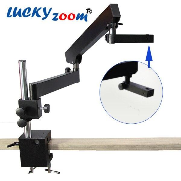 Lucky yzoom trinoculaire stéréo Zoom Microscope bras articulé pince pilier support Microscopio étape accessoires livraison gratuite