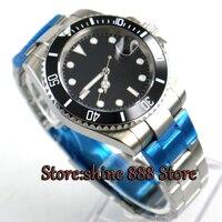 BLIGER 40mm mostrador Preto de cerâmica de vidro moldura de Safira relógio Dos Homens movimento Automático