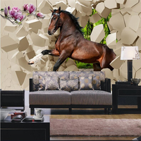 Custom Modern Photo Wallpaper 3D Stereo Murals Horse Leap Dance Into The Room Draw Room TV