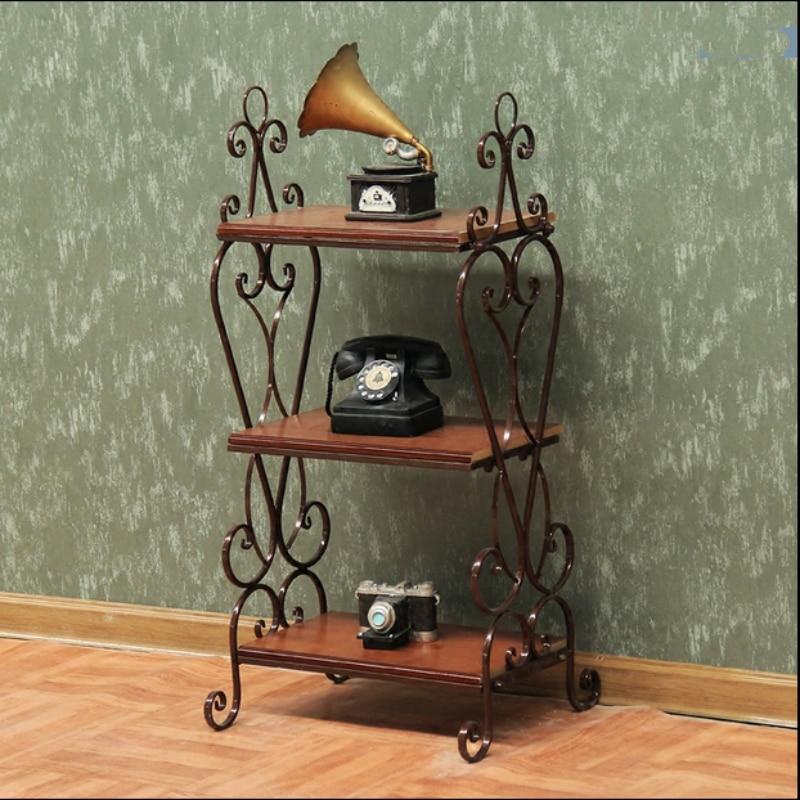 European Ground Iron Book Shelf Rack Shelf Vintage ...