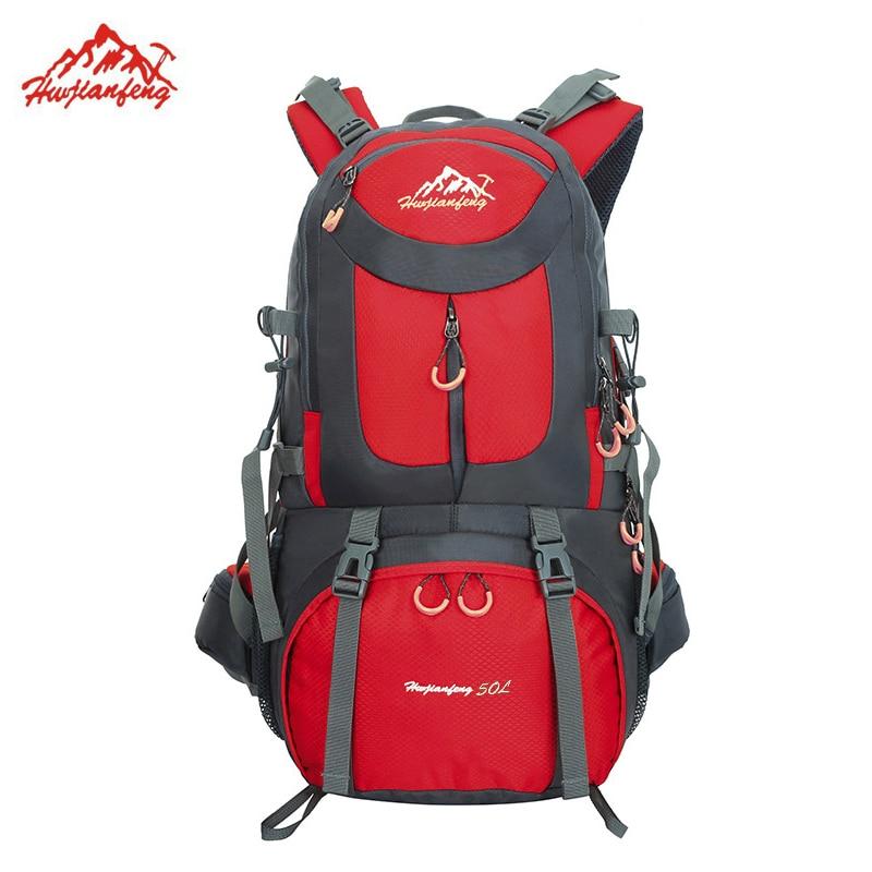 New 50L Outdoor Hiking Backpack Waterproof Nylon Men Women Bag Unisex Travel Bag Mountain Climbing Rucksack Camping Packsack