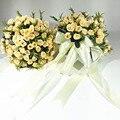 wedding Bouquet 2017 Rose Bridal Bouquet Ribbon buque noiva branco Pink Bridesmaid Wedding Flowers 2017 brides bouquet