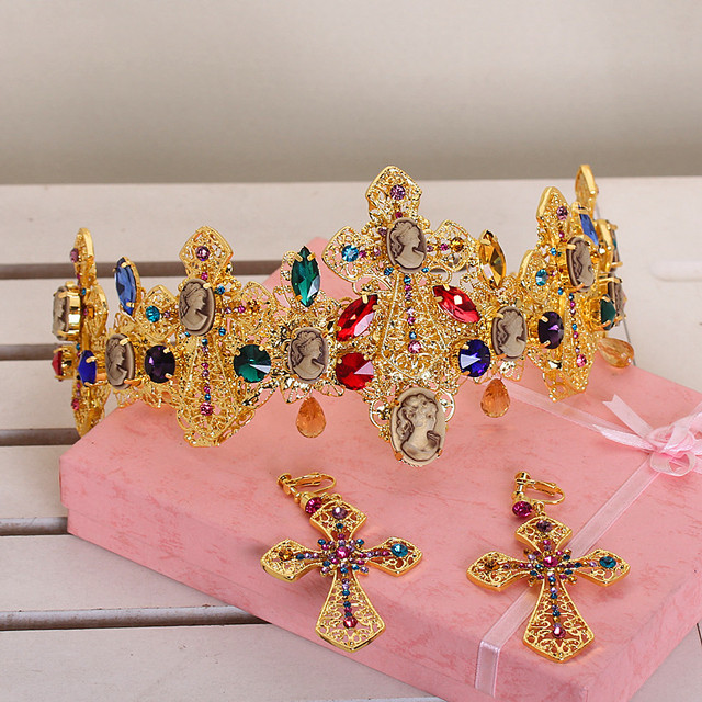 Bridal Hair Accessories European and American fashion colored Baroque style bridal hair jewelry wedding tiara earrings sets