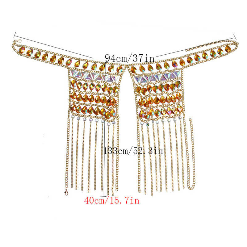 Shiny Big Gems Tank Top Gold Link Chain Kwasten Crop Tops Vrouwen Sexy Hollow Out Halter Top 2019 Zomer Rave festival Kleding