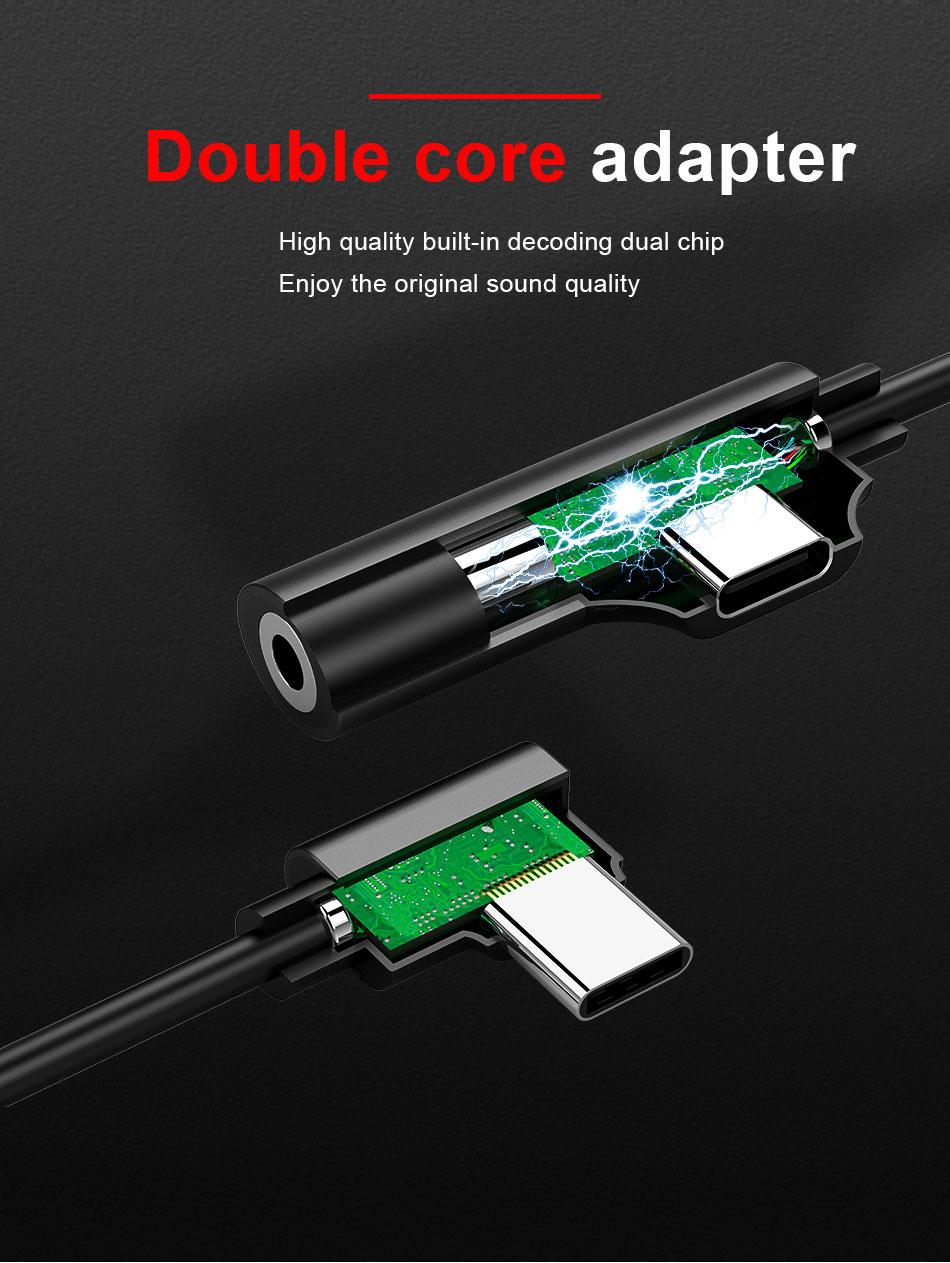 !ACCEZZ USB Type C Earphone Connector For Xiaomi Mi 6 5 Huawei Mate 10 Pro Fast Headphone Jack Splitter Charging Audio Adapter (4)